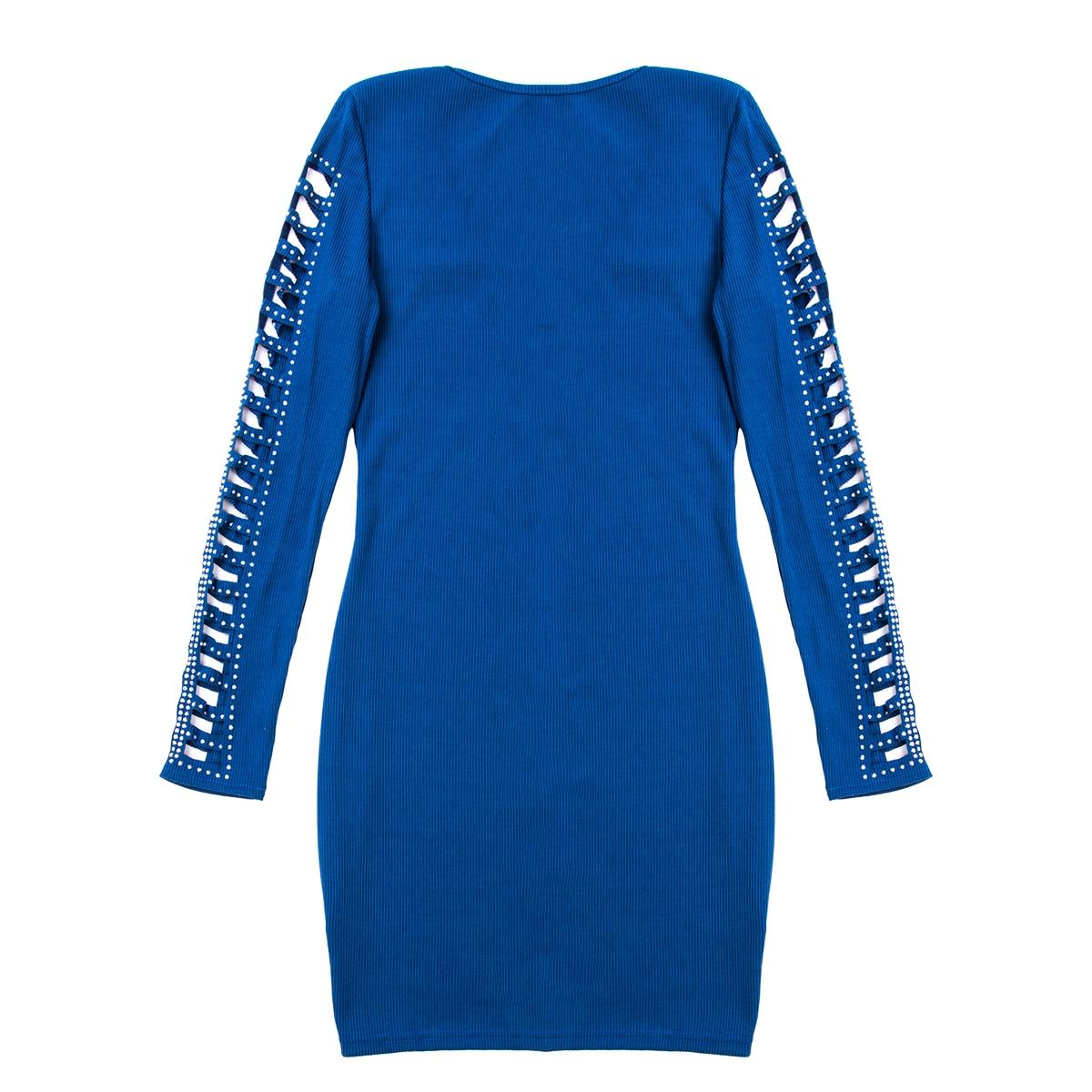 女性の冬のセーターボディコンミニジャンパークリスタルニット長袖ドレス