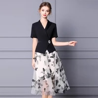 embroidery black apricot notched women dress suit mid calf ol diamond gauze flower butterfly printing skirt for ladies summer