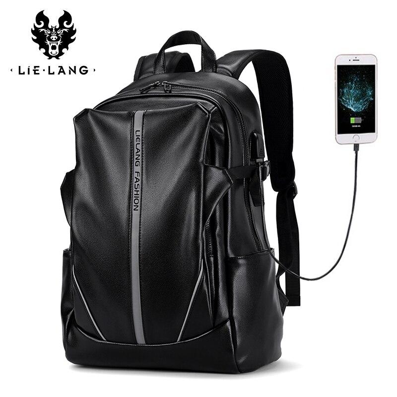 Mochila LIELANG para hombre, mochila de cuero para ordenador portátil, mochila impermeable para ordenador portátil, mochila USB para Universidad, mochila para hombre