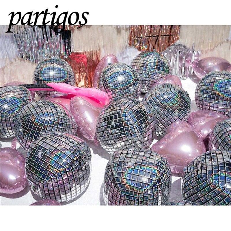 20 piezas 22 pulgadas 4D Disco globos metálicos papel de aluminio brillante globo decoración de la boda 80s 90s Retro Popular decoración de fiesta Rock and Roll Looks