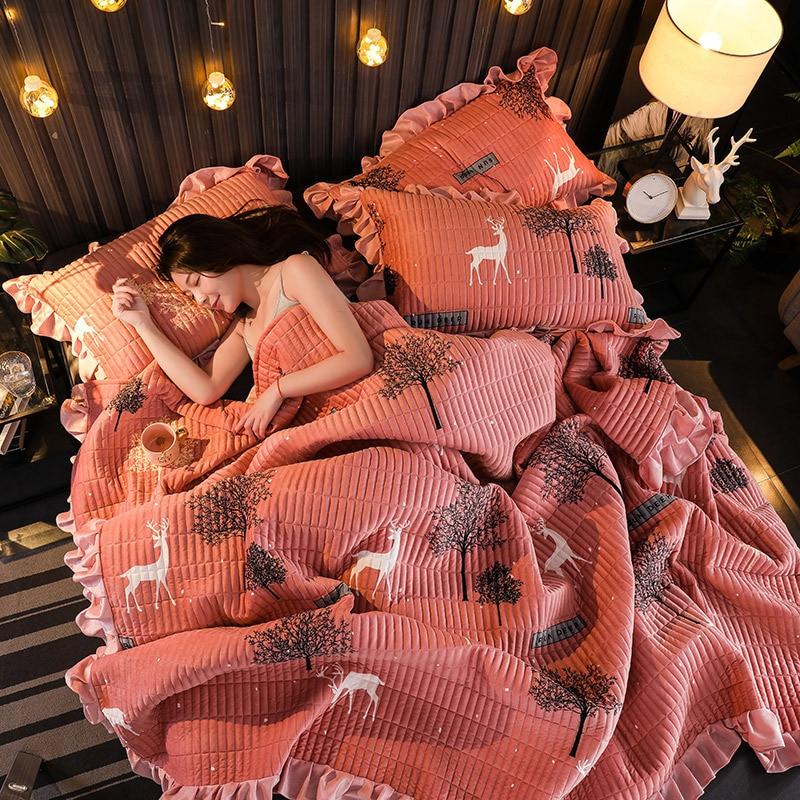 Drei stück Hickened baumwolle bett abdeckung decke bettdecke Bettwäsche Kristall unten bett blatt Vier jahreszeiten verfügbar