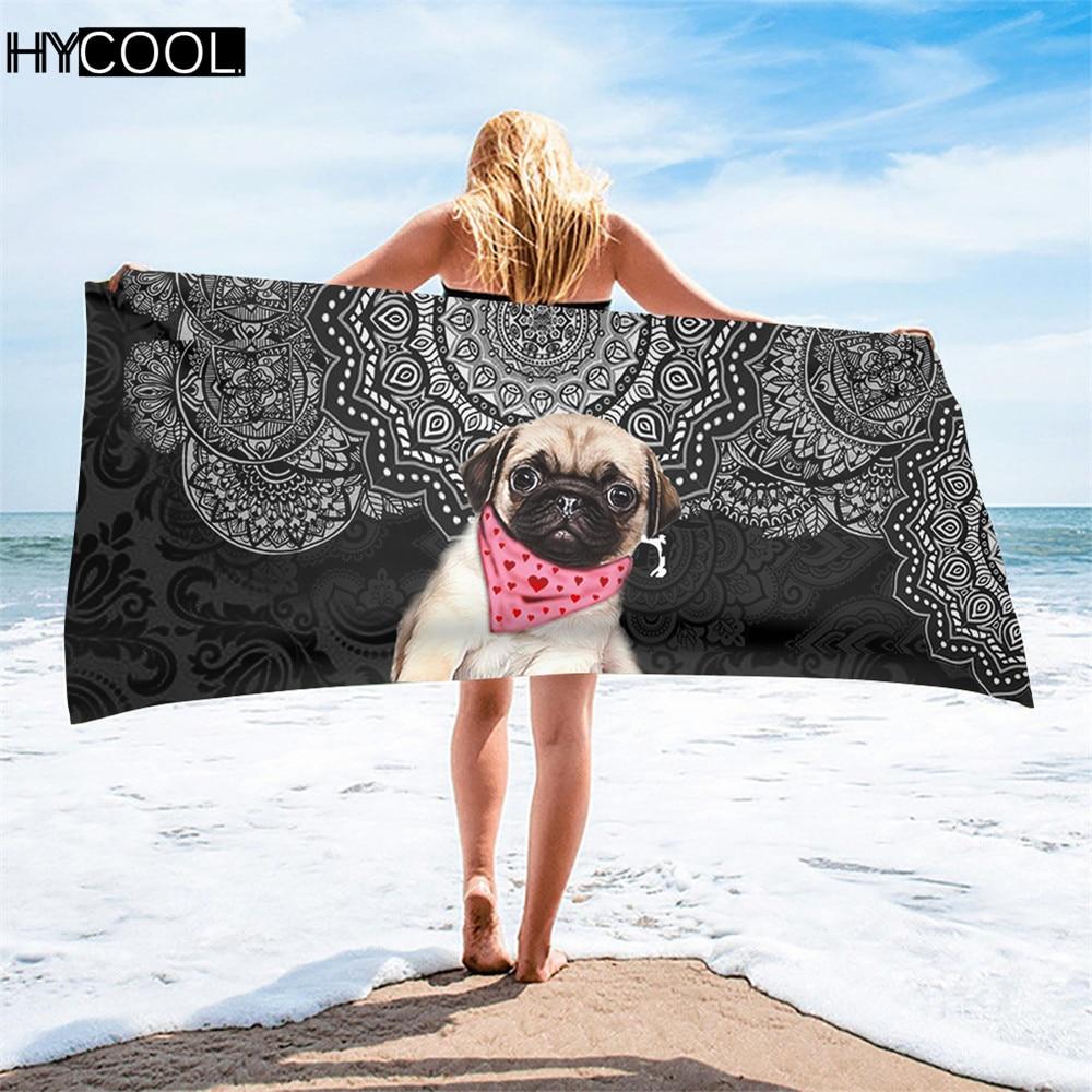 Toallas de microfibra de secado rápido para hombres y mujeres, diseño de perro Pug, Mandala, estampado, playa, baño, toallitas suaves