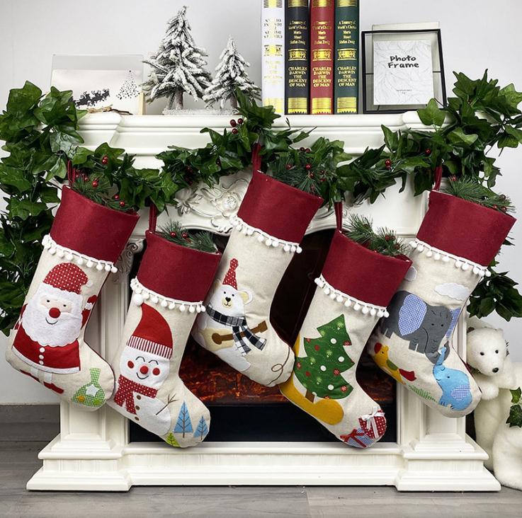 Árvore de Natal Bolsas de Armazenamento Natal Linho Meia Santa Pendurado Meias Crianças Presentes Pingente Presente Bolsa Sn3407