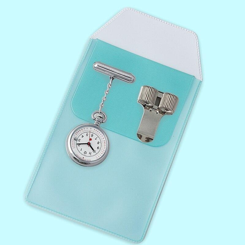 Colgante reloj de enfermera con 1 Penbag y 1 Clips para plumas médico reloj de bolsillo Doctor pecho ver traje femenino traje de papelería Unisex de cuarzo