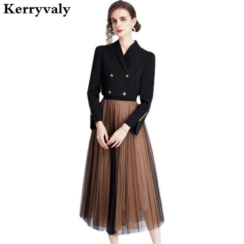 New Autumn 2 Piece Set Women Black Brazer Jacket + WOMEN Midi Gauze Mesh Skirt Suit Conjunto Feminino Short E Blusa K8906