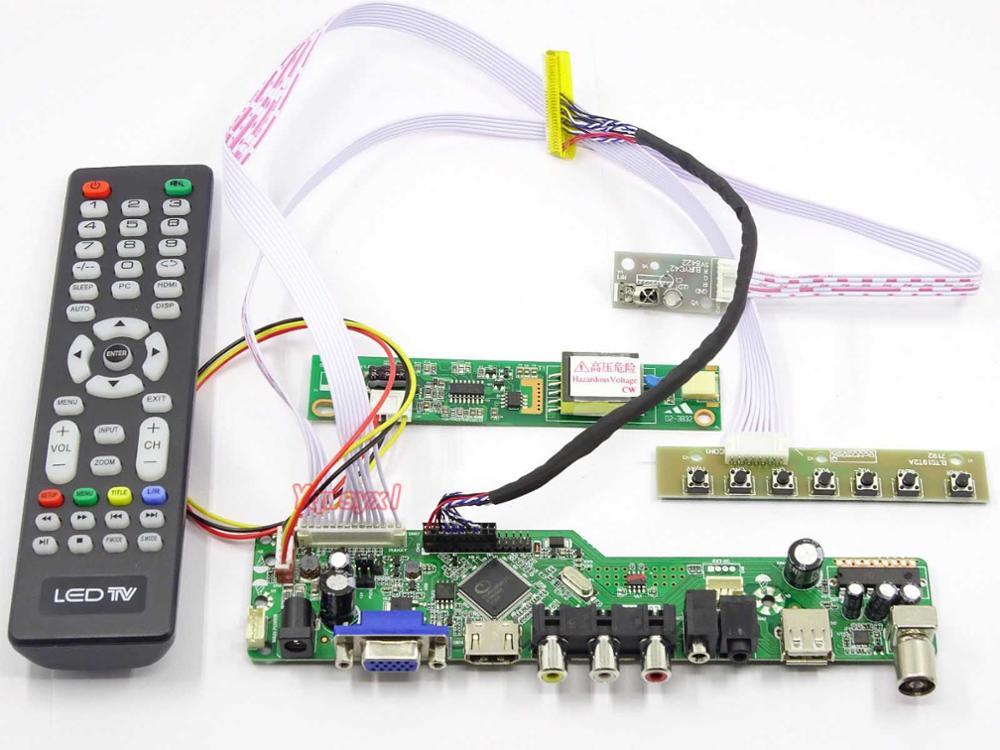Yqwsyxl Kit für B141EW01 V.0 V0 B141EW01 V.1 V1 B141EW01 V.2 V2 TV + HDMI + VGA + AV + USB LCD LED screen Controller Driver Board