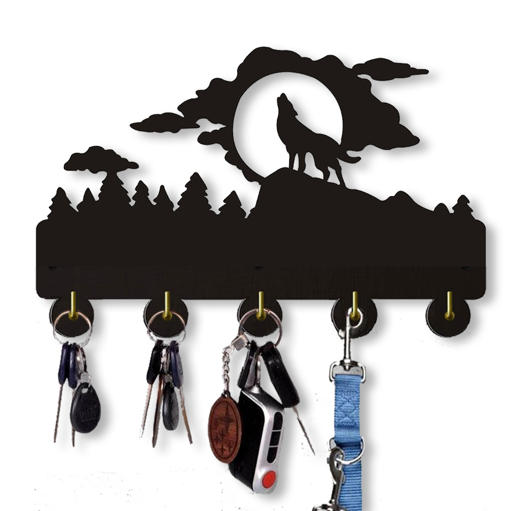 O lobo selvagem gancho de parede 20 lbmax ganchos de chave de carga   ganchos de armazenamento de casa de madeira feitos à mão   cinco ganchos de metal porta-chaves casaco saco cabide.