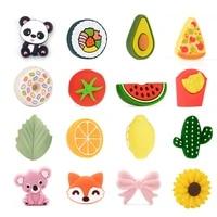 lofca 5pcs leaf silicone beads food grade koala teether animal bpa free avocado baby teething toy pacifier chain accessories