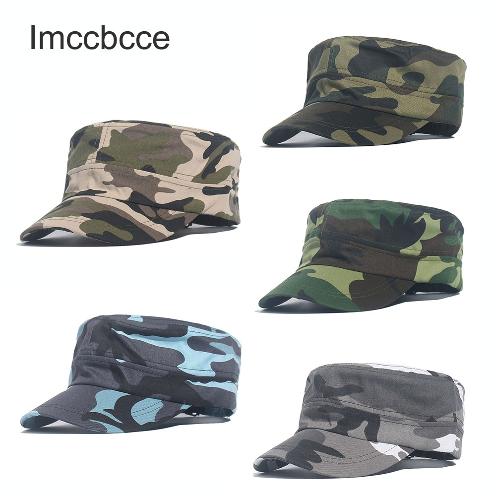 2021 Army Camouflage Military Caps Flat Top Baseball Cap For Men Women Marines Trucker Snapback Hat Unisex Cotton Bones Camo Hat