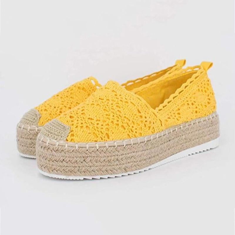 Женская обувь на платформе, обувь на плоской подошве; Женские туфли из дышащего материала, Повседневная обувь на танкетке эспадрильи