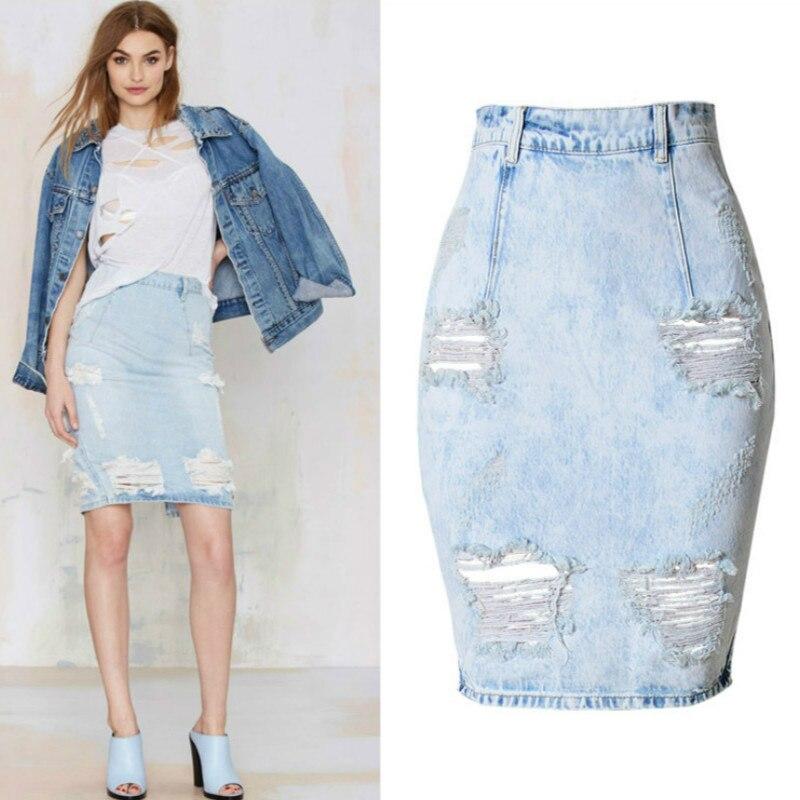 Hoge Taille Jeans Potlood Rokken Mujer Push Up Denim Rokken Womens Hole Ripped Vintage Jeans Rok Femme Mode Blauw Faldas mujer