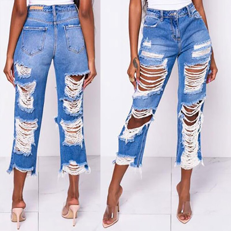Retro Summer Front and Back Ripped Fringe Hollowed Out Slim Jeans Straight-leg Pants Women's High-waist Ripped Jeans