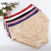 soft and fashion plus size women panties lace floral briefs panties lingerie mid waist underpants size l 5xl