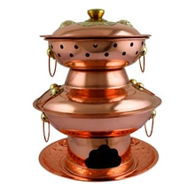 Olla caliente de carbón de doble capa de cobre puro, pimientos en escabeche, olla de dos capas pagoda, Pato Mandarín, sopa, estofado