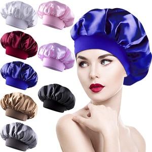 8pcs Women Solid Color Sleep Cap Wide Elastic Band Shower Hat Women 8pcs Pure Color Head Cover Sleep Caps Hair Care