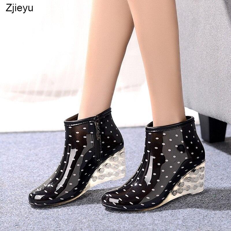 ¡Novedad! Botas de lluvia de tacón transparente para mujer, botas de goma con estampado de leopardo, zapatos de lluvia de tacón alto, Botas de lluvia para niñas
