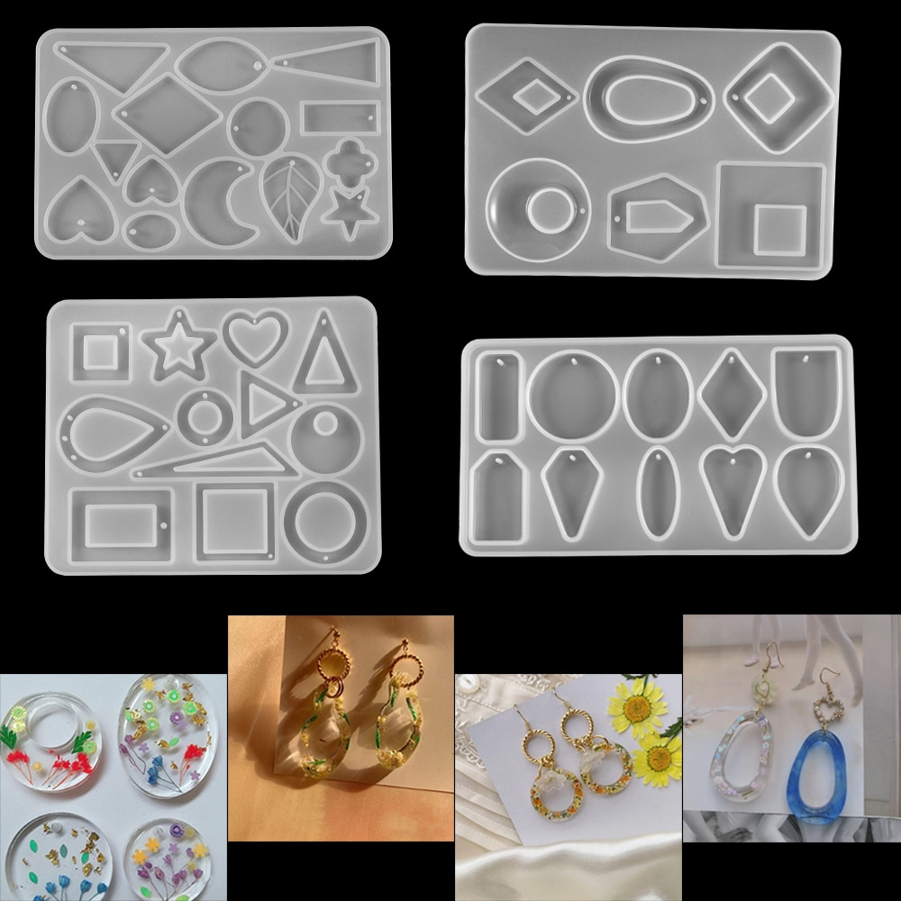 11Styles Geometric Figure Silicone Mold Jewelry Earrings Epoxy Resin Set DIY Handmade Making Finding Tools Supplies