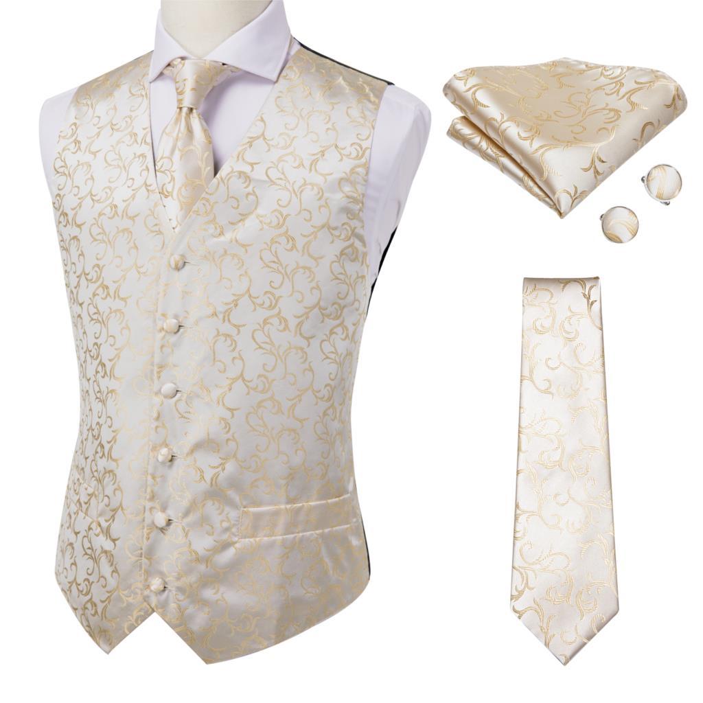 Шелковый мужской жилет, комплект с галстуком, мужские жилеты с галстуком на шею, ручная работа, запонки, Цветочный Пейсли, для бизнеса, свадь...