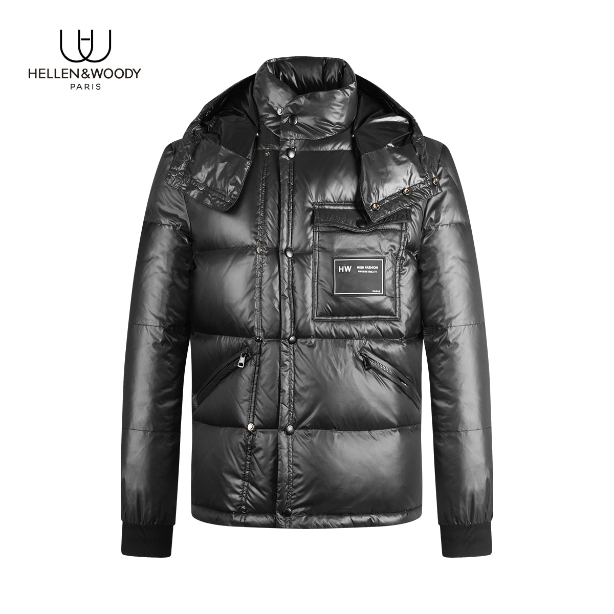 HELLEN&WOODY Winter New Arrivals Mens Clothing Hooded White Duck Down Jacket Causal Slim Fit Coats