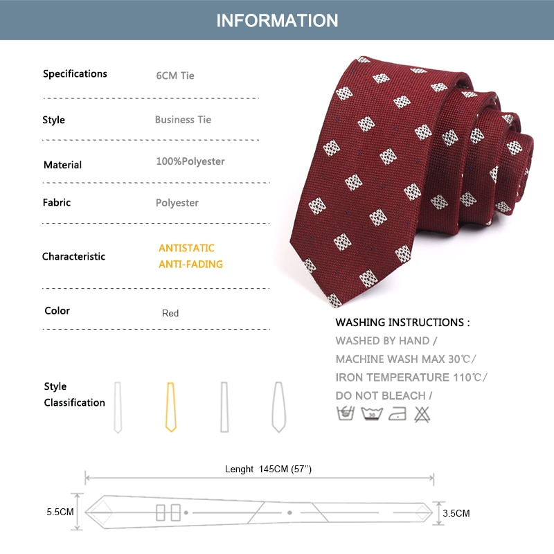 Groom Wedding Party Tie Brand New Mens 6CM Red Ties Fashion Formal Neck Tie For Men Business Suit Work Necktie With Gift Box