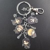 attack on titan tiny korean style acrylic anime key ring cartoon keychain boy girl birthday women party pupil jewelry gift