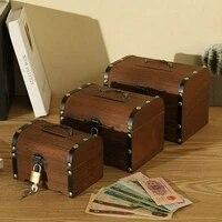 wooden money box cash piggy bank savings wood carving handmade vintage child cash coin storage box pirate treasure box