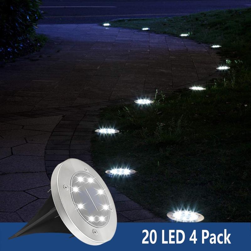 20 LED Outdoor Garden Solar Underground Light Villa Front Lawn Decorative Lamp Waterproof Supplies F