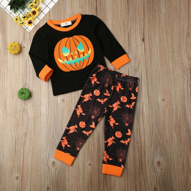 Emmababy bebé chica chico calabaza, manga larga O cuello camiseta encantadora pantalón de moda Halloween ropa de otoño