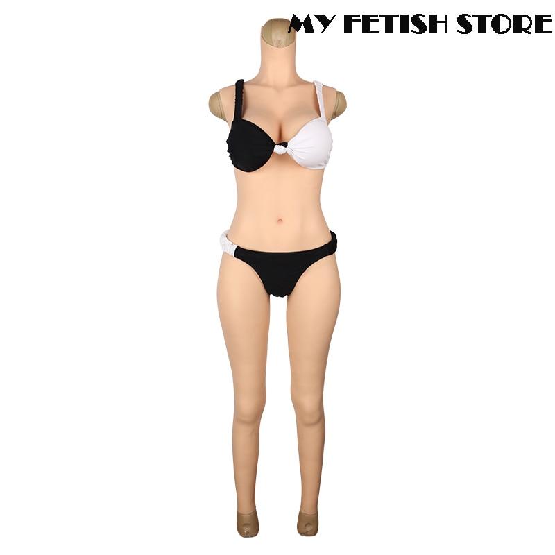 طقم صدر سيليكون بدون أكمام بطول الكاحل 5 جرام ، كوب كامل الجسم ، شكل D مع مهبل لملكة السحب خنثى