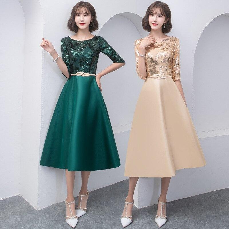 Moda bling brilhando lantejoulas apliques vestidos de noite elegante o pescoço meia manga buquê vestido de baile feminino vestido curto