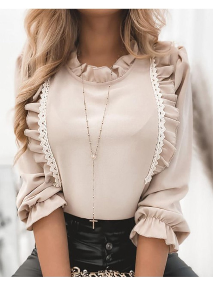 Women Lace Trim Ruffled Collar Puff Sleeve Shirt Blouse Autumn Casual Long Solid Office Lady Tops Blusa