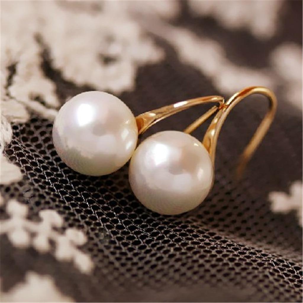 Earrings Women Grandmother Woman Girl Fine 14k Gold Large Pearl Drop Hoop Earrings Серьги Женские Pendientes Etnicos Bohemian