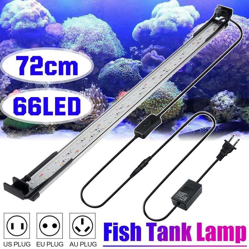 72cm 28W Aquarium LED Lighting Aquatic Plant Lighting DC12V 5730SMD Ultra Slim Fish Tank Light Lamp with Extendable Brackets