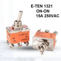 2pcs e ten1321 on on 15a 250vac toggle switch rocker switch high temperature resistant power supply knob toggle switch orange