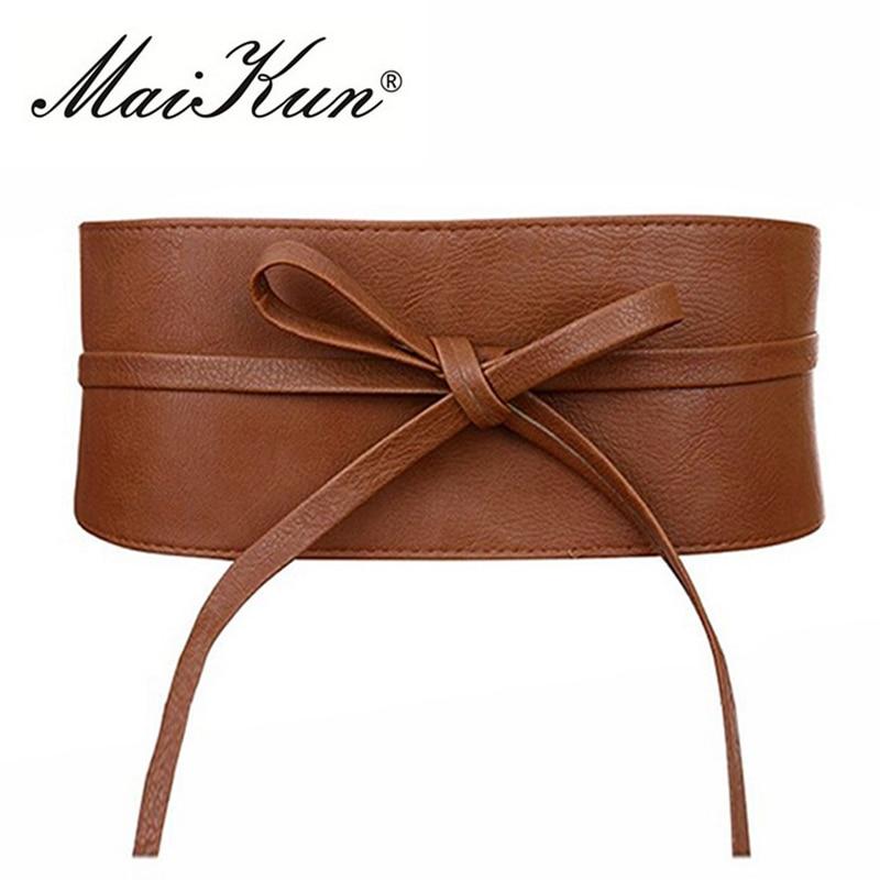 Boho Belt for Women Bowknot Faux Leather Wrap Around Obi Style Cinch Waistband Black Cummerbund Brow