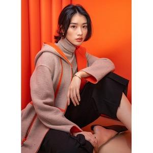 Уличное кашемировое пальто с капюшоном и широкой талией, дизайнерская женская одежда 2021, высококачественный 50% кашемир + 50% шерсть