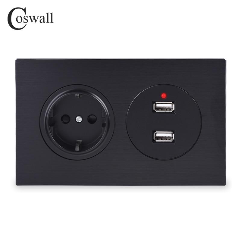 Coswall-مقبس حائط معدني من الألومنيوم ، 16A ، أسود ، معيار الاتحاد الأوروبي ، مع منفذ شحن USB مزدوج ، خرج 2.4 أمبير ، سلسلة R12