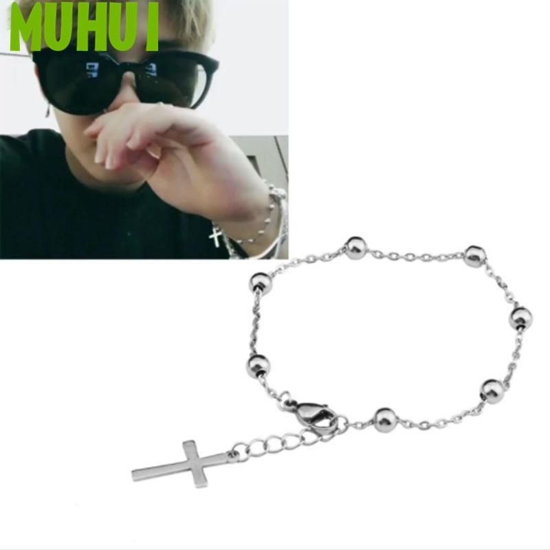 Kpop Star JIMIN Same Style Titanium steel Cross Beads Chain Bracelet Women Never Fade Jewelry B085