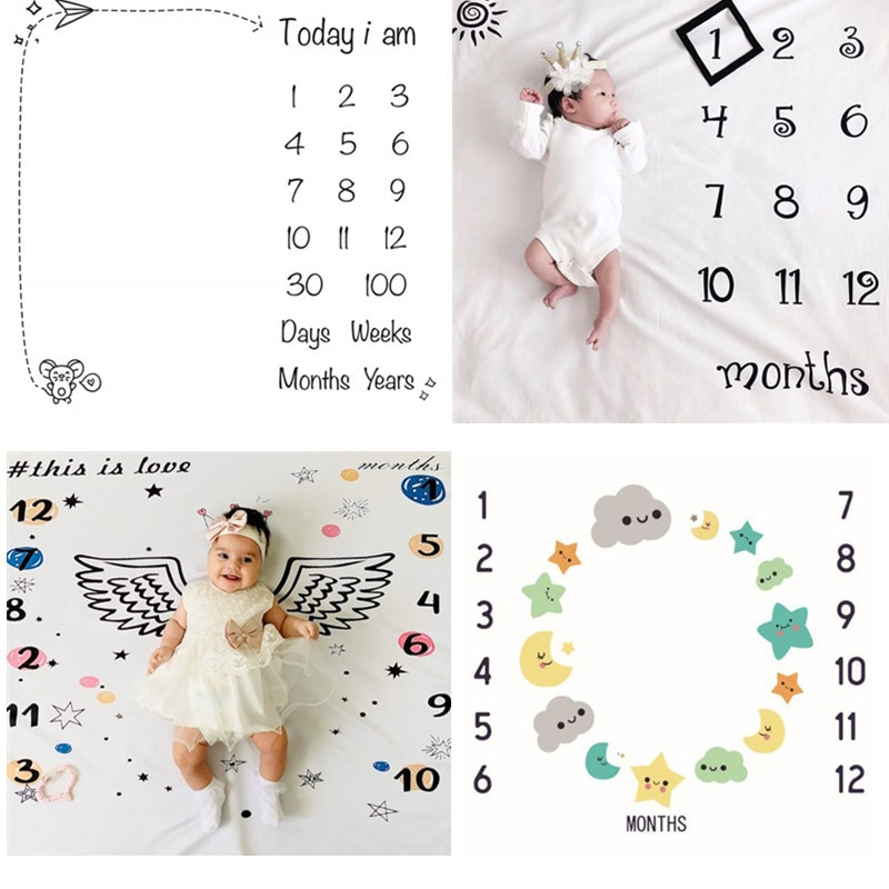 Newborn Baby Milestone Blankets Photography Blanket Flower Print Soft Blanket DIY Infant Photography Props