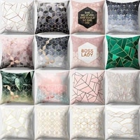 printed polyester throw pillow cases geometric multicolored sofa cushion cover soft comfortable fashion pillow cover home decor