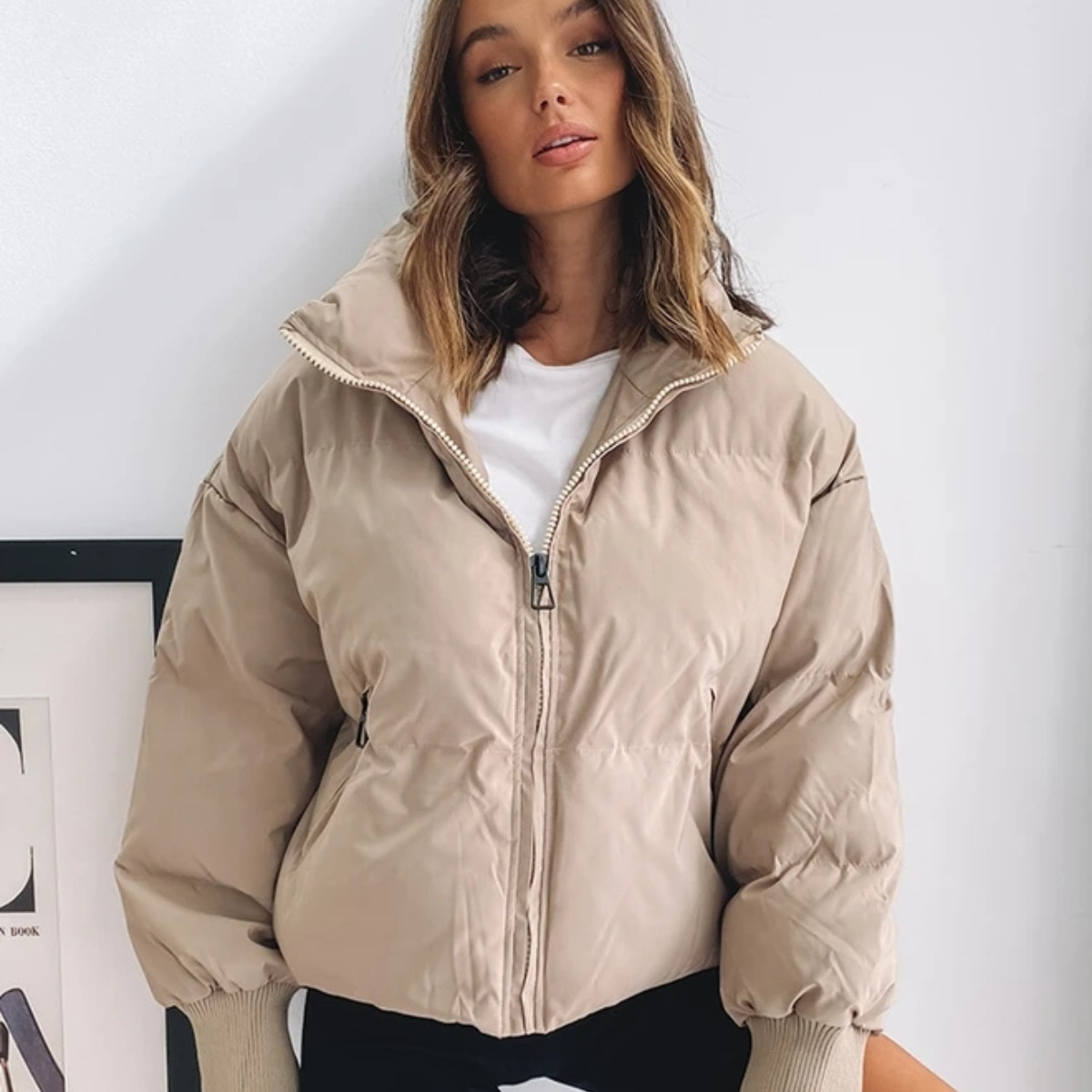 Women Jackets Zipper Winter Warm Winter Coats Turn Down Collar Chic Solid Color Autumn Ladies Fashion For Female 2020 inclined zipper fly rib spliced turn down collar slimming flocked sweatshirt for men