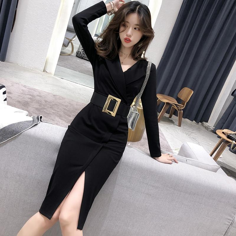 Novo elegante vestido de escritório verão vestir para trabalhar vestidos de negócios bodycon com cinto feminino vestido de senhora do escritório