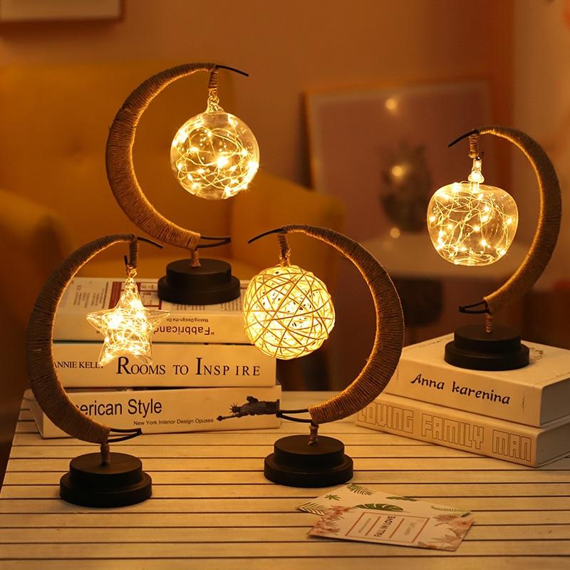 Led stars / moon / apple / Sepak takraw / Christmas gift handmade hemp rope wrought iron night light party room decoration light