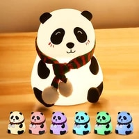 usb charging silicone panda night light touch sensor colorful atmosphere light kids bedroom lamp home decoration night light