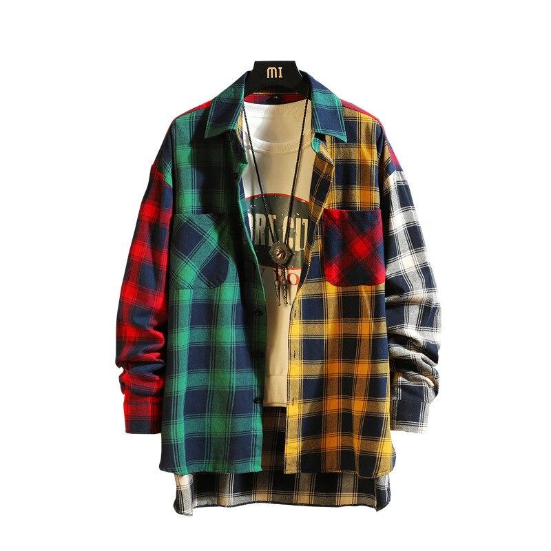 Мужская рубашка с длинным рукавом, красная Повседневная Свободная рубашка в клетку, в стиле хип-хоп, в стиле пэчворк, большие размеры, новинк...