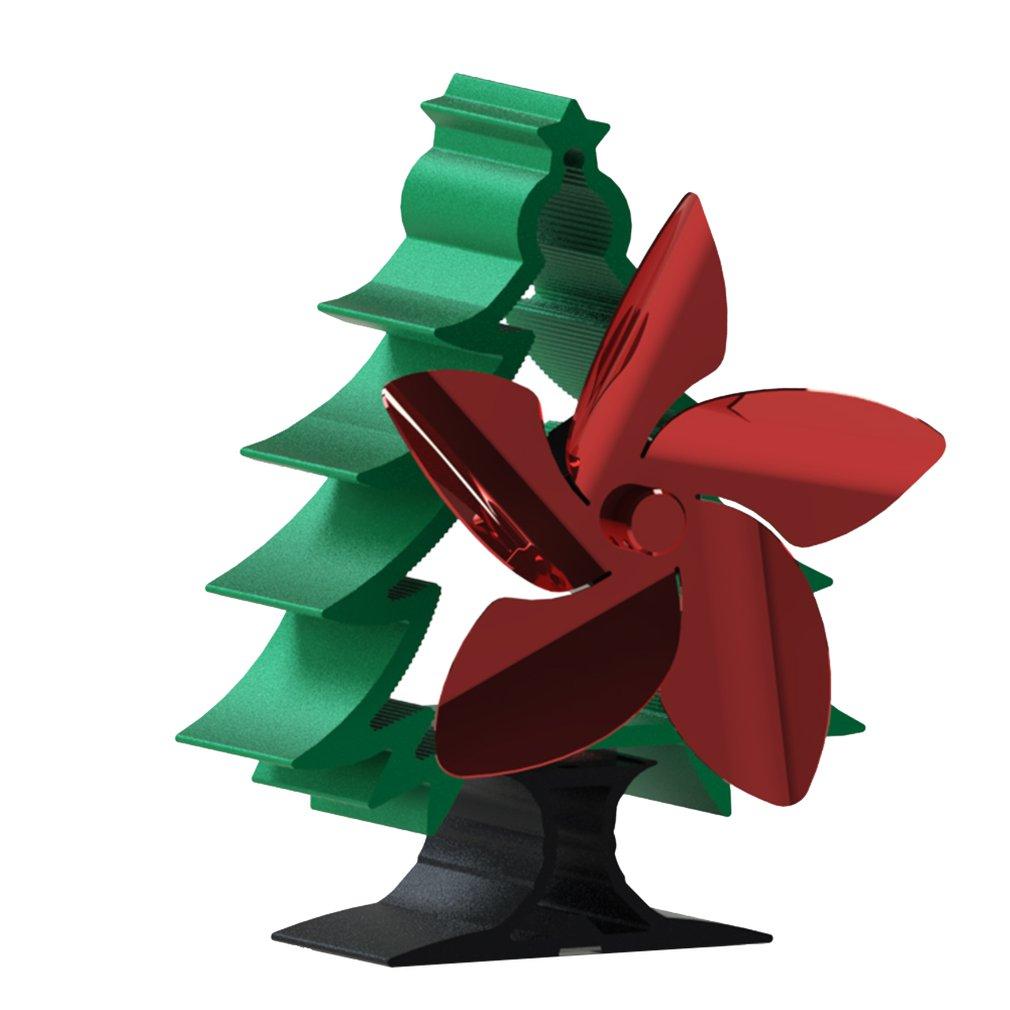 شجرة عيد الميلاد الموقد مروحة 5-بليد الحرارة بالطاقة موقد مروحة الموقد ايكو مروحة هادئة المنزل الموقد مروحة كفاءة توزيع الحرارة