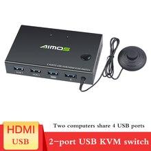 2020 novo para fora 4 k usb hdmi kvm switch box display de vídeo usb interruptor divisor para 2 pc compartilhando teclado mouse impressora plug e paly