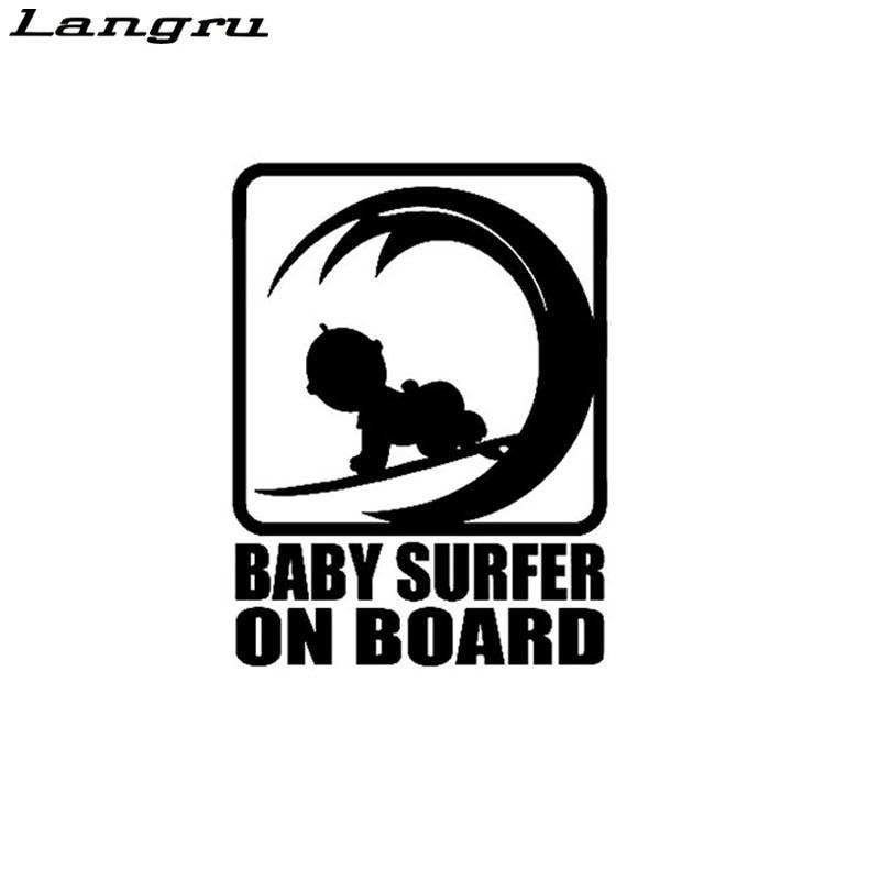 Langru Surfista Em Placa De hacer Bebe vinilo Etiqueta ¿Carro Decalque accesorios Jdm para automóviles