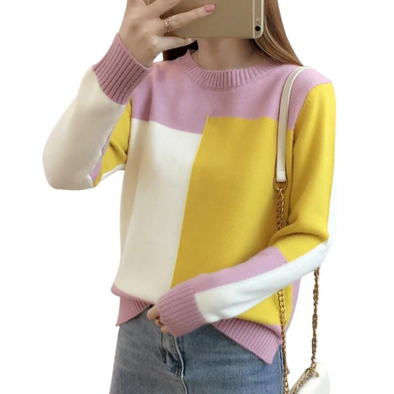 Novo outono inverno contraste cor camisola feminina manga longa camisola e pulôver camisola de malha pull femme