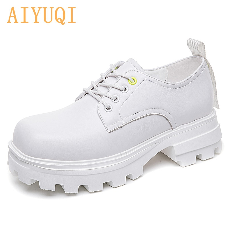 AIYUQI Women's Shoes Platform 2021 Spring New Square Toe British Style Lace-up Female Loafers White